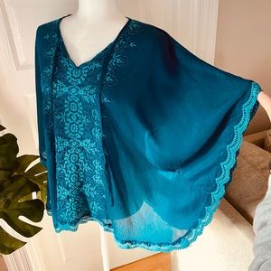 Johnny Was Teal Embroidered Blouse/Tunic/T…